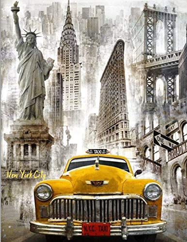 New York City: Notebook Souvenir Journal Large Lined Stamp Statue of Liberty in, Yellow Taxi, Empire State Building, NYC Travel Souvenirs, USA ... Teens Kids, Best Unique New York Themed Diary