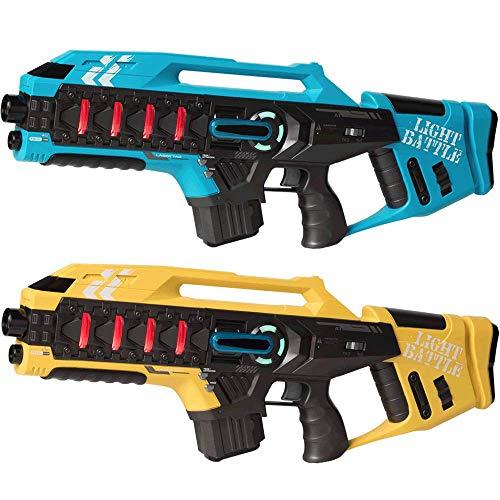 Light Battle Lasertag Spiel für Kinder: 2 Anti-Cheat Laser Tag Gewehre Kaufen - Laser Game Toy Gun für zu Hause | Blau + Gelb | LBAPG10248