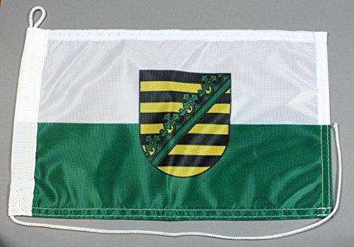 Buddel-Bini Bootsflagge Sachsen 20 x 30 cm in Profiqualität Flagge Motorradflagge