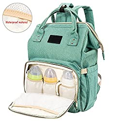 Baby Diaper Backpack Bag Unisex Nappy Changing Bag Multi-function Travel Backpacks Waterproof Rucksack Dad Mummy Large Capacity Canvas(green)