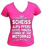 Artdiktat V-Neck T-Shirt Scheiß aufs Pferd - Echte Prinzen kommen mit dem Motorrad Wom, S, fuchsia