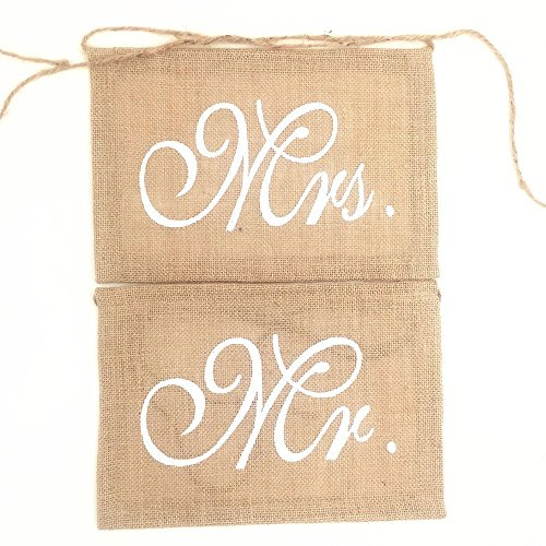 "Stuhldeko ""Mr + Mrs"" aus Jute"