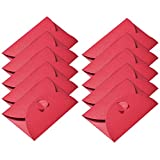 50 Stück Kraftpapier Umschläge Mini Geschenkkarte Umschlag mit Herzverschluss für Weihnachtsgeschenkkarten Valentinstag DIY Handwerk, Rot