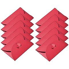 Idea Regalo - 50 Pezzi Buste di Carta Kraft Mini Carta di Regalo Busta con Chiusura a Cuore per le Carte Regalo di Natale Regalo San Valentino Bricolage Craft, Rosso
