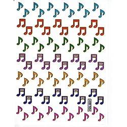 Musiknoten Noten Musik bunt Aufkleber 78-teilig 1 Blatt 135 mm x 100 mm Sticker Basteln Kinder Party Metallic-Look