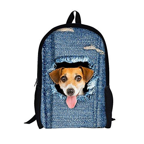 Imagen de moolecole unisex de patrones de daypack del morral de las muchachas de bolsas patrones de hombro bolsa de escuela de la  ocasional de la historieta perfecto para la escuela y viajes perro grande
