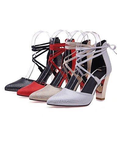 ShangYi Schuh Damenschuhe-High Heels-Hochzeit / Kleid / Lässig-maßgeschneiderte Werkstoffe / Kunstleder-Blockabsatz-Absätze / Spitzschuh-Schwarz / Rot White