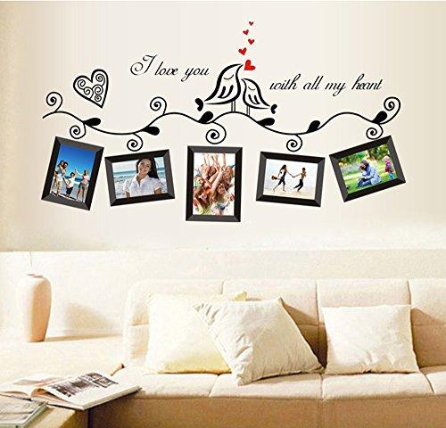 ufengke® Uccelli di Amore Romantico Photo Frame Adesivi Murali, Camera da Letto...