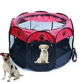 Tenda box per cagnolini cuccioli e piccoli animali rosso,Recinto per cuccioli - Grande recinto per animali da usare all'interno e all'esterno- Facile da montare (Rosso L)