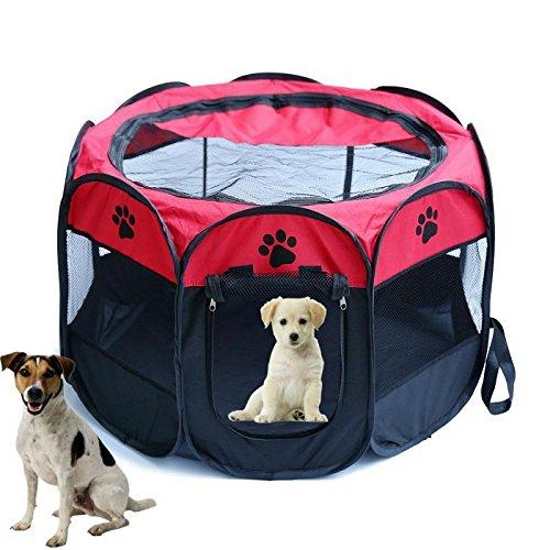Welpenlaufstall/ Tierlaufstall/ Hundehütte/ Welpenauslauf/ Laufstall für Hunde/ Katzenhaus/ Wasserdichtes Zelt für Kleintiere wie Hunde, Katzen Größe M/L (91*91*58CM, rote)