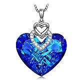 Sivery 'Herz des Ozeans' halskette damen mit blau Herz Swarovski elemente, schmuck damen, geburtstagsgeschenk, kette damen, geschenke für frauen, kette herz