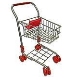Kinder Metall Einkaufswagen Einkaufskorb klappbar Silber mit roten Rädern