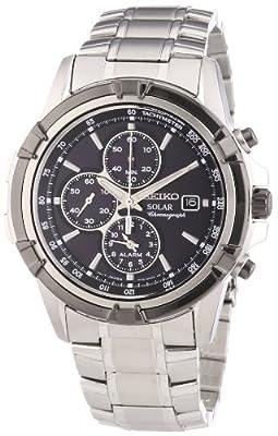 Seiko Solar - Reloj de cuarzo para hombre, con correa de acero inoxidable, color plateado
