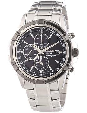 Seiko Herren-Armbanduhr XL Solar Chronograph Quarz Edelstahl beschichtet SSC147P1