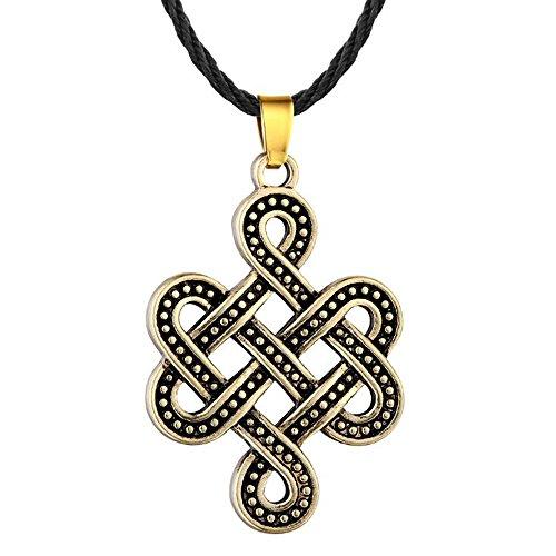 Fengteng Vintage Halskette Keltischer Knoten Anhänger Keltisches Unendlich Amulett Irischer Knoten Anhänger Halsschmuck Keltenschmuck Damen und Herren (Gold)