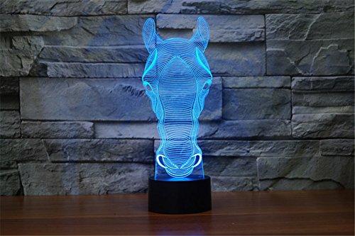 PROW® Abstrakt 3D Visualisierung LED Berühren Druckknopf 7 Farben Pferd Innenbeleuchtung,perfekte Geburtstagsgeschenk Weihnachten Danksagung