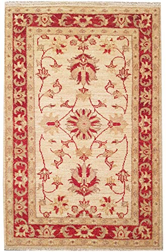 Smart Deal Traditionelle handgeknüpfte Moderne Chobi-Teppiche Beige/Rot 100% Wolle Perserteppiche Größe 74 x 122 -