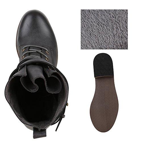 Damen Stiefeletten Worker Boots Schnürstiefel Dunkelgrau