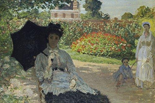 Artland Qualitätsbilder I Wandbilder Selbstklebende Premium Wandfolie 60 x 40 cm Menschen Gruppen Familien Malerei Grün C1NG Camille Monet mit Sohn und Kindermädchen im Garten