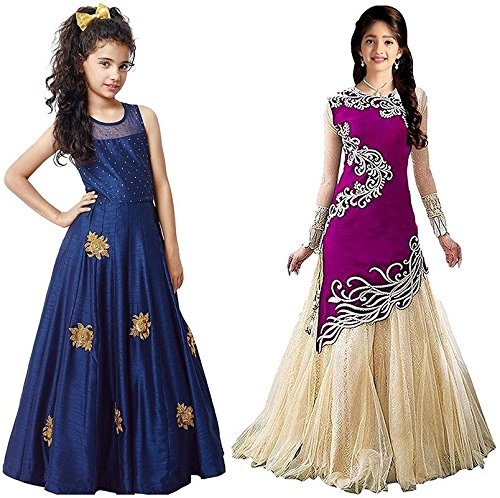 Market Magic World Girl's Blue & Purple Banglori & Velvet Semi Stitched Combo Pack lehenga Choli, Salwar Suit, Gown (Kids Wear_Free Size_8-12 Year age)  available at amazon for Rs.799