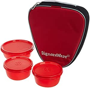 Signoraware Plastic Sleek Lunch with Bag, Deep Red