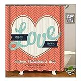 Beydodo 3D Duschvorhang Antischimmel 180X200 Happy Valentine's Day Love Herz Vintage Duschvorhang