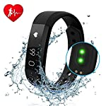 DIWUER Fitness Tracker Smart Watch With Heart Rate Monitor Touch Screen Bracelet Waterproof Sweatproof Sleep Tracker Step Distance Calorie Counter Pedometer Wristband For IPhone Android Phone