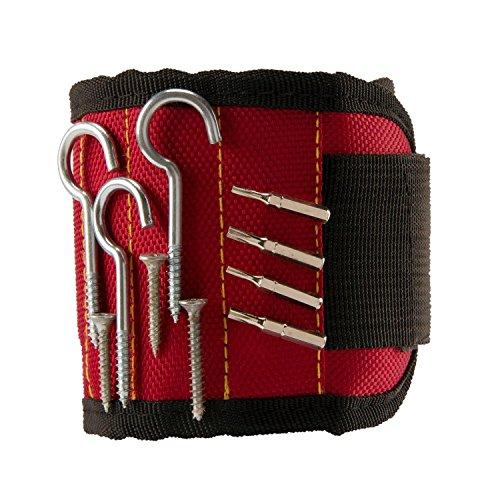 leadextek mejor magnético pulseras y # xFF0C; Con 5potentes imanes para guardar tornillos, clavos, brocas, manitas de regalo mejor herramienta para DIY, Hombres, mujeres y # xFF08; Rojo y # xFF09;