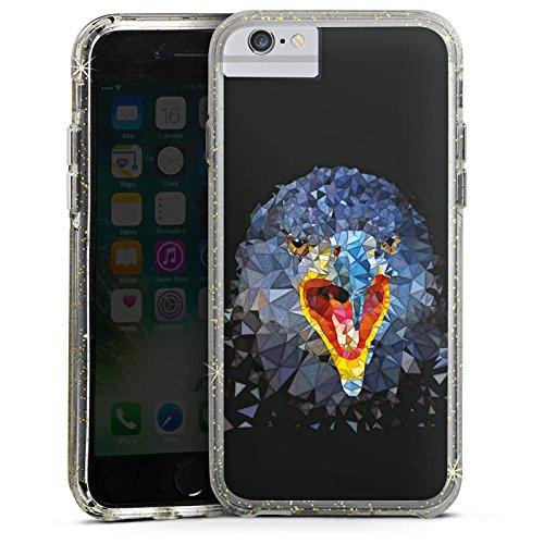 Apple iPhone 7 Bumper Hülle Bumper Case Glitzer Hülle Raven Rabe Vogel Bumper Case Glitzer gold
