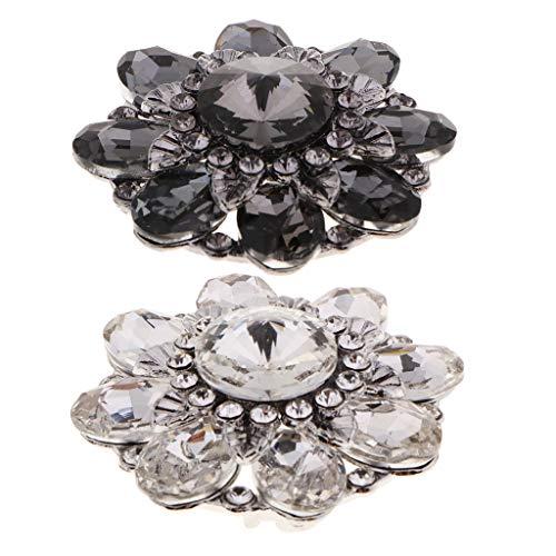 Kostüm 2 Shank - chiwanji Alloy 46mm Crystal Strass Shank Buttons Packung Mit 2 Flower Shape Nähzubehör
