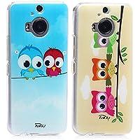 tinxi® 2 Stücke Silikon Schutzhülle für HTC One (M9) Plus Hülle Tasche Schutz Hülle Silicon Case Cover Etui zwei Vögel sowie drei Eulen