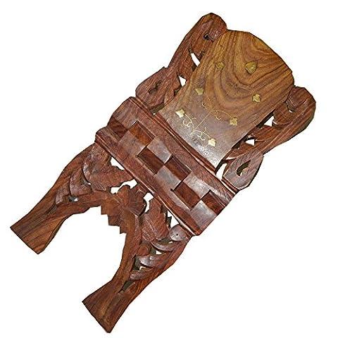 Porte-livre 45cm pliable en bois de Shisham avec des incrustations en laiton Artisanat indien