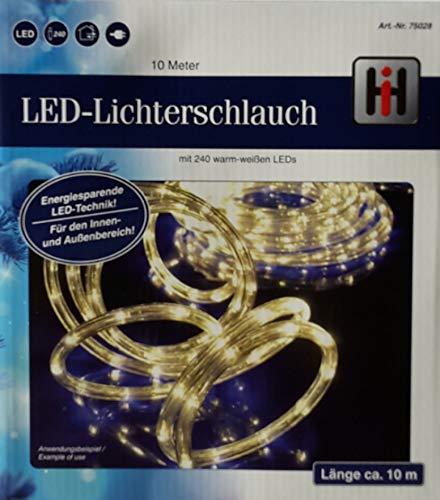 LED Lichterschlauch Lichtschlauch 10m warmweiss mit 240LEDs für aussen und innen 75028