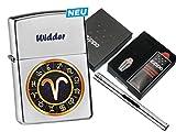 Zippo Sternzeichen Widder mit Zippo Geschenkset und L.B Chrome Stabfeuerzeug