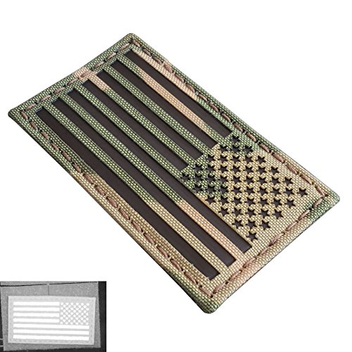 Multicam Infrared IR USA American Reversed Flag 3.5x2 Laser Cut Reflective IFF Tactical Morale Touch Fastener Patch