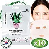 Gesichtsmaske Korean Aloe Vera Facial Sheet Masks (Pack of 10) Deep Moisturizer Beauty Masks - Soothe, Heals & Rejuvenates Skin - Anti Aging & Anti Bacterial - Diminish Fine Line & Wrinkles