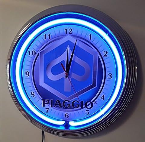 zeropoint Boutique Neon Clock Horloge de Vespa Piaggio, Italian flag Red Fluo Rouge