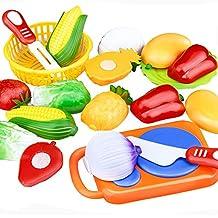 SMARTLADY 12 pcs juguetes de Cortar Frutas Verduras Educativos Juguetes de cocina Juego para Niño Niña Infantil (A)