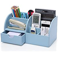 KINGFOM™ 7 scomparti Multifunzionale Portaoggetti da scrivania in Pelle PU (Blu)