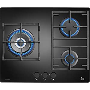 Teka CGW LUX 60 3G AI AL TR – Placa de cocción a gas (Incorporado, Vidrio, Giratorio, Frente, 1.2m), Negro