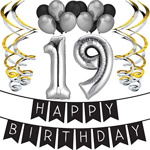 Sterling James Co. 19. Geburtstag Party Set - Schwarz & Silber Happy Birthday Girlande, Poms und Spiralgirlanden - Lustiges Geschenk Deko