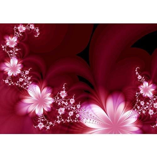 Vlies Fototapete 300x210 cm PREMIUM PLUS Wand Foto Tapete Wand Bild Vliestapete - RED FLOWER ORNAMENTS - Ornamente Blumen Orchidee Rot Blumenranke - no. 040