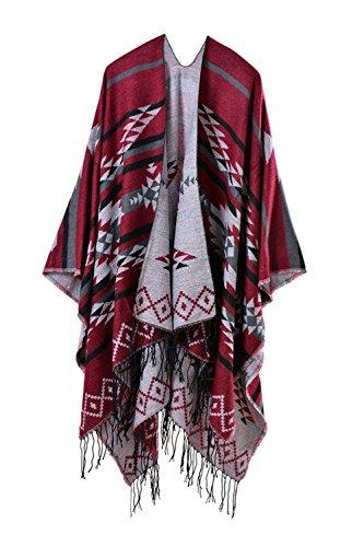 Damen Winter Reversible überdimensioniert Decke Poncho Cape Schal Schals