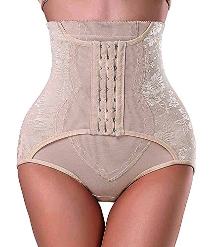 Damen Butt Lifter Bauchweg Enhancer Briefs Waist Cincher Tummy Control Panty (X-Large, Beige(Enhance Bottom)) (Boyshort-tanga Lace)