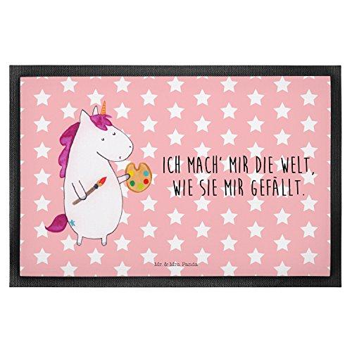 Mr. & Mrs. Panda 40 x 60 Fußmatte Einhorn Künstler - 100{911a0b11d29ea6cc0b1c39f7a101122b376799470e9f36ffddedd44c4fb97882} handmade in Norddeutschland - Fussabtreter, Maler, Einhorn, Artist, Pinsel, Künstler, Geschenk, Englisch, Matte, Einhörner, Malen, Gummi Velour Stoff