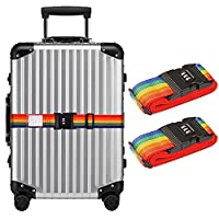 CCINEE 2 Pieces Adjustable Travel Luggage Security Strap Suitcase Packing Belts Rainbow Stripe Strap