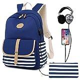M-hwbb Leinwand Frauen Rucksack Schulrucksack College Casual Reisetasche Laptop Rucksack 14 Zoll für Mädchen Jugendliche (Farbe : Style B)