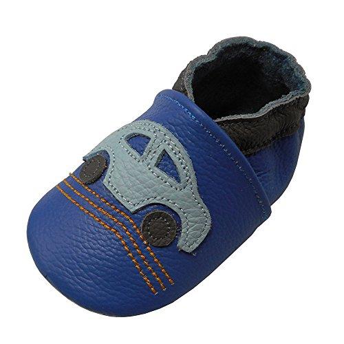 YALION Premium Weich Leder Babyschuhe Krabbelschuhe Lauflernschuhe Hausschuhe mit Auto Blau, 0-6 Monate