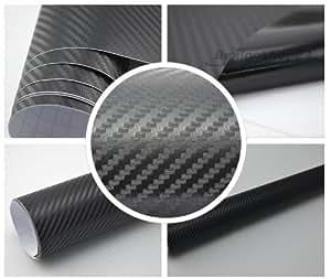 3,22€/m² 3D Carbon Folie -SCHWARZ - 30 x 152 cm selbstklebend flexibel Car Wrapping Folie