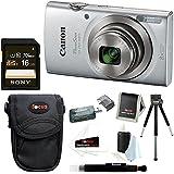 Canon PowerShot ELPH 180 20 MP Digital Camera (Silver) + Sony 16GB Memory Card + Focus Medium Point & Shoot Camera Accessory Bundle